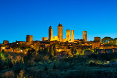 San Gimignano town skyline and medieval towers sunset. Tuscany, Stock Images