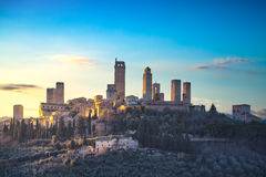 San Gimignano town skyline and medieval towers sunset. Tuscany, Stock Image
