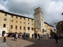 San Gimignano Townfyrkant Arkivbilder