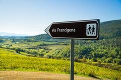 SAN GIMIGNANO, TUSCANY / ITALY - OCTOBER 7, 2017: Road sign of t Royalty Free Stock Photos