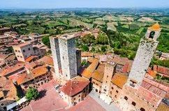 San Gimignano, Tuscany - Piazza della Cisterna Royalty Free Stock Photos