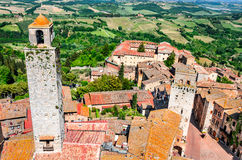 San Gimignano, Tuscany - Piazza della Cisterna Stock Images