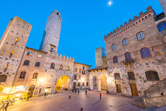 San Gimignano, Tuscany. Sunset light over medieval architecture Stock Photo
