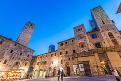 San Gimignano, Tuscany. Sunset light over medieval architecture Royalty Free Stock Image