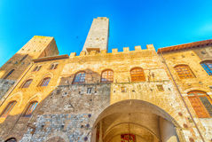 San Gimignano, Tuscany. Sunset light over medieval architecture Stock Images