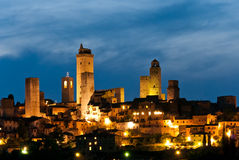 San Gimignano in the twilight Stock Images