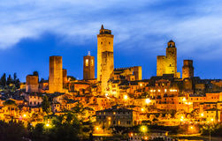 San Gimignano in the twilight Stock Image