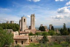 San Giminiano in Italië/Toscanië stock foto's