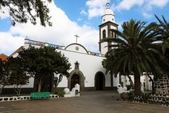 San Gines church in the central old square of Arrecife city in Lanzarote island, Spain.  stock images