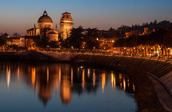 San Giorgio in Braida. Long exposure photos of Verona, taken on the stone bridge that crosses the Adige River, the scene of the Adige, the church of San Giorgio Stock Photos