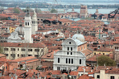 San Giorgio dei greci and San Zaccaria. Left San Giorgio dei Greci (Saint George of the Greeks) is a church in the district of Castello, Venice, northern Italy Royalty Free Stock Images