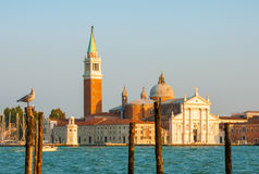 San Giorgio island under sunset rays Royalty Free Stock Image