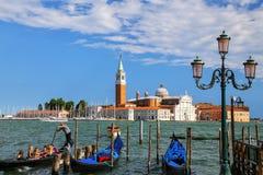 San Giorgio Maggiore ö som ses från den San Marco fyrkanten i Venedig arkivbild