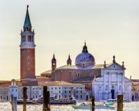 SAN Giorgio Maggiore Church βάρκες Grand καναλιών Βενετία Ιταλία Στοκ φωτογραφία με δικαίωμα ελεύθερης χρήσης