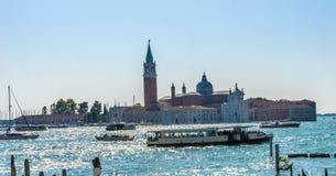 SAN Giorgio Maggiore Church βάρκες Grand καναλιών Βενετία Ιταλία Στοκ εικόνες με δικαίωμα ελεύθερης χρήσης