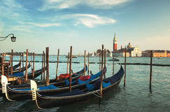 San Giorgio Maggiore church and boats Royalty Free Stock Images