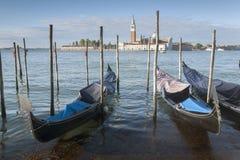 San Giorgio Maggiore Church and Gondola Boats, Venice Stock Photo
