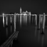 San Giorgio Maggiore church Long exposure By Night. Royalty Free Stock Images
