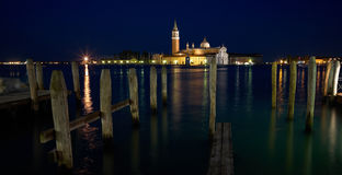 San Giorgio Maggiore church Long exposure By Night. Stock Photos