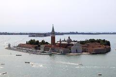 San Giorgio Maggiore island and church near Venice. San Giorgio Maggiore is one of the islands of Venice, lying east of the Giudecca and south of the main island Stock Photos