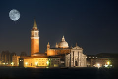 San Giorgio Maggiore island with full moon Royalty Free Stock Images
