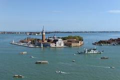 San Giorgio Maggiore Island - Venice. San Giorgio Maggiore is one of the islands of Venice, lying east of the Giudecca and south of the main island group stock photography