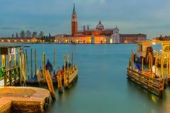 San Giorgio Maggiore kościół przy półmrokiem, Wenecja, Włochy zdjęcie stock