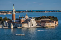 San Giorgio Maggiore in Venice from top of San Marcos Royalty Free Stock Image
