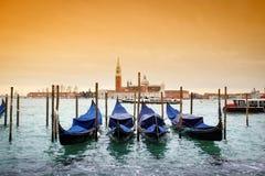 San Giorgio Maggiore with view of moored gondolas Stock Image
