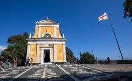 San Giorgio St George kyrka, Portofino, Genua landskap, Liguria, Italien royaltyfri foto