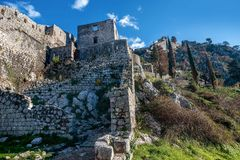 San Giovani Fortress walls above the old town of Kotor, Monteneg. Ro Stock Images