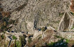 San Giovani Fortress walls above the old town of Kotor, Monteneg. Ro Royalty Free Stock Photos