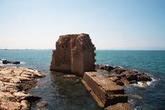 San Giovanni d'Acri, resti del porto antico immagini stock