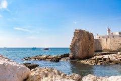 San Giovanni d'Acri, resti del porto antico in Israele Fotografia Stock