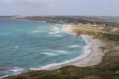 San Giovanni di Sinis beach from Tower of San Giovanni in Sardinia Italy Stock Images