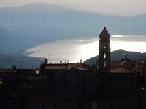 San Giovanni un golfo de Piro - de Policastro en contraluz fotos de archivo libres de regalías