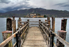 San Giulio Island from the docks Royalty Free Stock Image