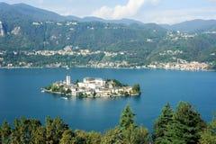 San Giulio island on lake D'Orta Royalty Free Stock Images