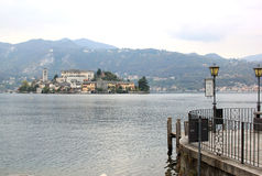 San Giulio Island in Lake Orta, Italy Royalty Free Stock Photography