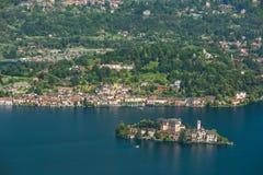 San Giulio Island lake Orta Stock Image