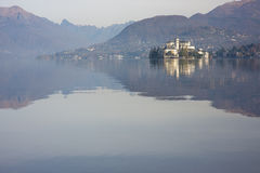 San Giulio island at Orta lake, Piedmont, Italy Royalty Free Stock Image