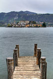 San Giulio island from the pier Royalty Free Stock Images