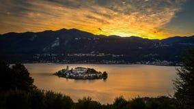 San Giulio island sunset Royalty Free Stock Image