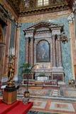San Giuseppe dei Teatini Altar Sicily Italy. A marble altar with four columns and a golden chandelier with a statue inside of San Giuseppe dei Teatini church in Royalty Free Stock Photos