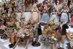 San Gregorio Armeno craftsmen. Naples, San Gregorio Armeno street Neapolitan craftsmen of nativity scenes and other figurines, of various sizes, are perfectly royalty free stock photography
