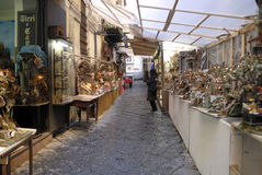 San Gregorio Armeno craftsmen. Naples, San Gregorio Armeno street Neapolitan craftsmen of nativity scenes and other figurines, of various sizes, are perfectly royalty free stock photo
