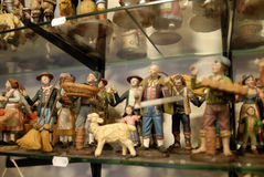 San Gregorio Armeno craftsmen. Naples, San Gregorio Armeno street Neapolitan craftsmen of nativity scenes and other figurines, of various sizes, are perfectly stock image