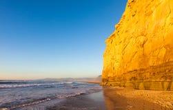San Gregorio Beach. Sunset light on the cliffs of San Gregorio beach, California Stock Photography