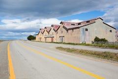 San Gregorio townscape, Punta Delgada, Chile landmark. Estancia San Gregorio. Abandoned buildings stock images