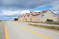 San Gregorio townscape, Punta Delgada, Chile landmark. Estancia San Gregorio. Abandoned buildings stock photography